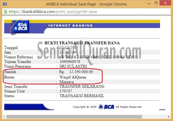 Pembayaran AlQuran Wakaf BCA
