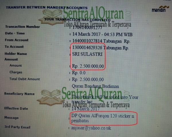 Bukti Transfer Dp Pembelian AlQuran Souvenir Tahlilan
