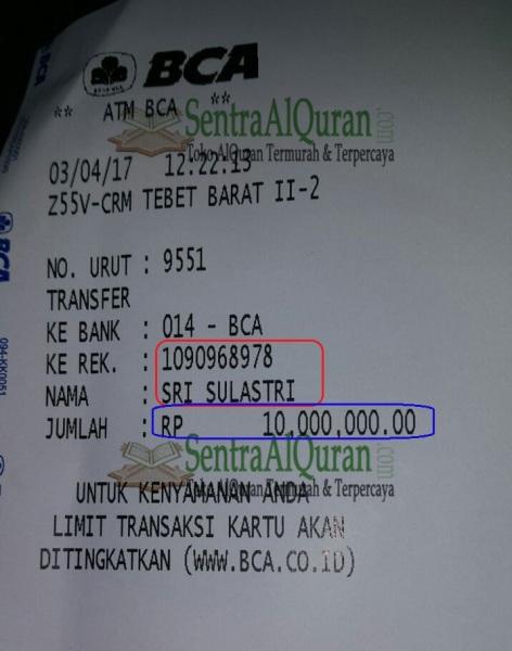 Bukti-Transfer-DP-Pembelian-250pcs-AlQuran-Mushawwir-+-Sisipan