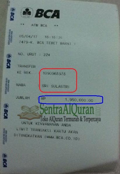 Bukti-Transfer-Pelunasan-Pembelian-250pcs-AlQuran-Mushawwir-+-Sisipan