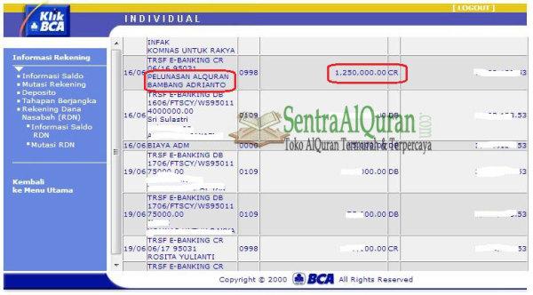 Bukti Transfer DP Pembelian AlQuran Terjemah PerkataBukti Transfer DP Pembelian AlQuran Terjemah Perkata