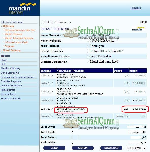 Bukti Transfer Pembelian 110 AlQuran Terjemah Tajwid AtTauhid