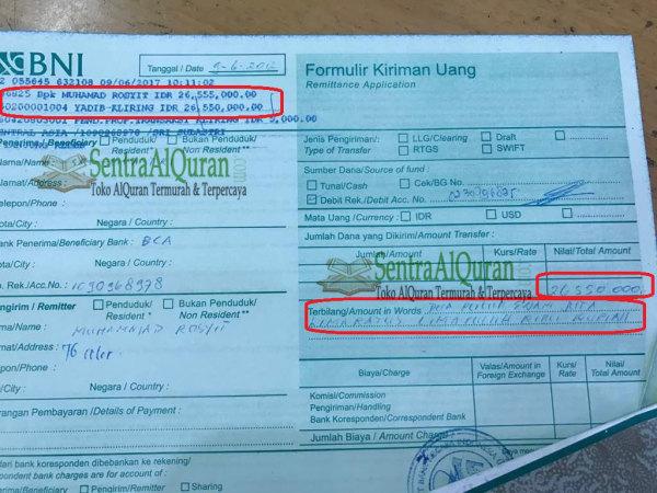 Bukti Transfer Pembelian 300 AlQuran Terjemah Tajwid AtTauhid