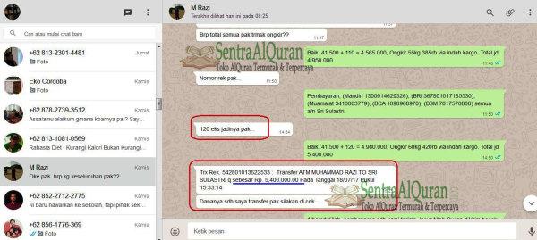 Bukti Transfer  Pembelian 281exp Quran Tikrar A5