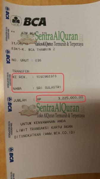 Bukti Transfer Pembelian Quran Bayan A5 100 pcs sq