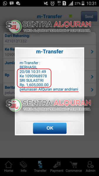 Bukti Transfer Pelunasan pemesanan Al-Quran Souvenir Peringatan 1 Tahun Meninggal Al-Hamid Perkata 100 pcs