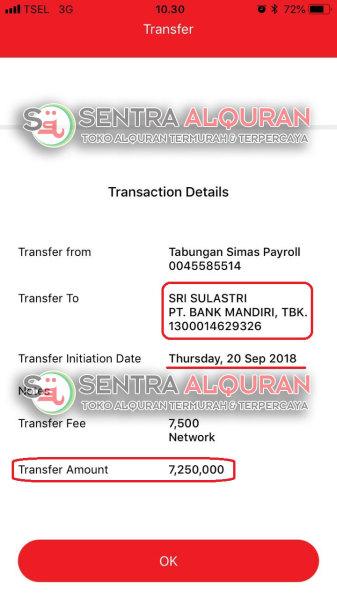 Bukti Transfer Pelunasan Pesanan Al-Quran Souvenir Tahlilan At-Tauhid Dengan Goodybag Sebanyak 150 pcs