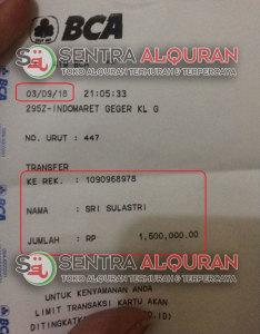 Bukti Transfer Pesanan AlQuran Al-Hamid 50 pcs untuk Souvenir Tahlilan 40 Hari