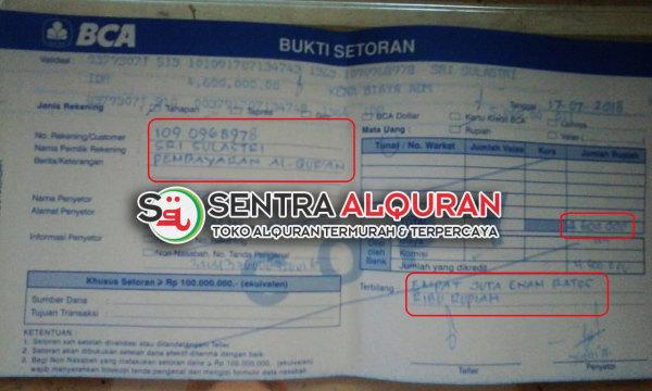 Pembayaran Pembelian Al-Quran Souvenir 40 Hari Mengenang Wafat Al-Hamid 120 pcs