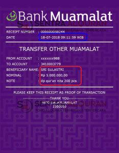 Pembayaran DP Al-Quran Al-Hamid Perkata 120 Pcs Quran Souvenir 1000 Hari